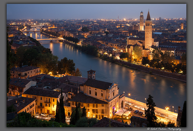(IT-20)  Early evening in Verona, Italy.