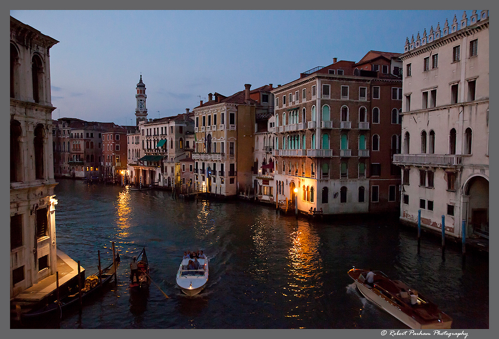 (VE-07)  Early evening along the Grand Canal, Venice.