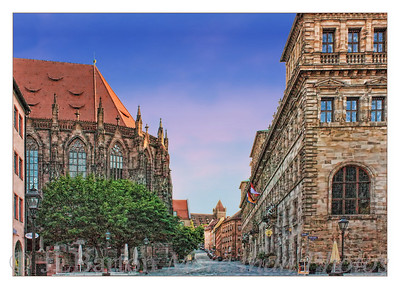 View to the Burg St. Sebastian church and the city hall Nürnberg, Germany