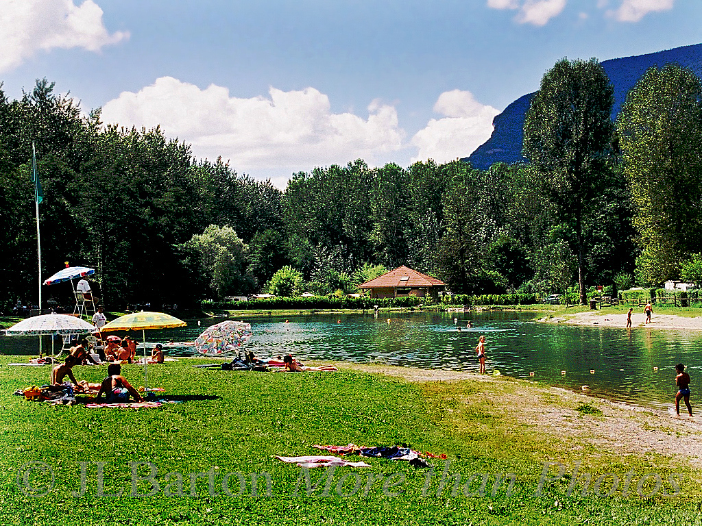 Family swimming Rhone valley, France