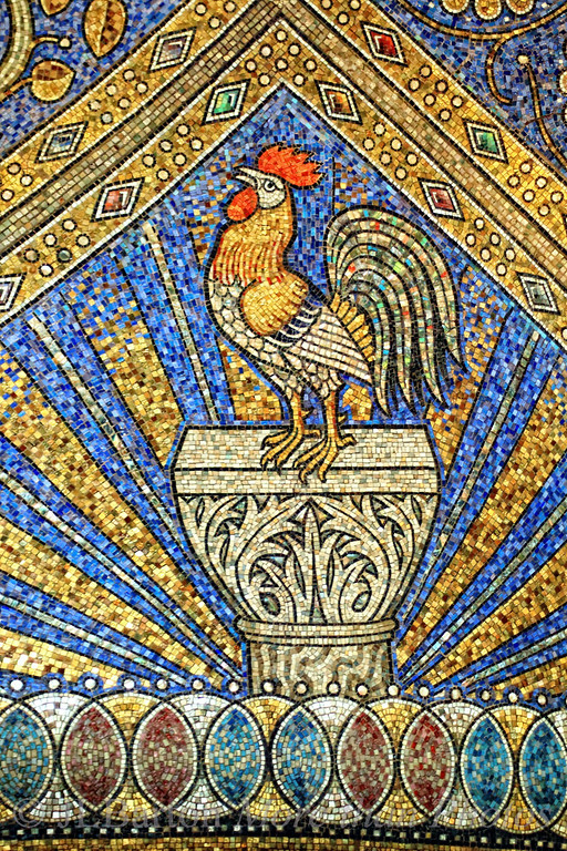 """Good Morning! I have no idea why a rooster is part of the ceiling mosaic in the Aachen Cathedral, but it is.  According to the book we have, it is there as a """"symbol of vigilance"""".  This part of the cathedral was finished in 800.  The mosaics were redone mid-19th century from original plans.  This part of the cathedral was Charlemagne's chapel.  And thanks for yesterday's comments.  Yes, indeed, shooting through glass is a pain."""
