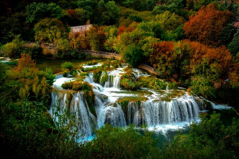 Autumn Moments Of Flowing Waterfalls - Krka National Park, Split, Croatia