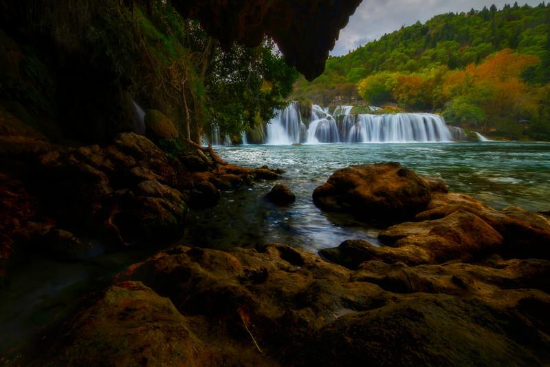 Stream Runoff Into Waterfall - Krka National Park, Split, Croatia