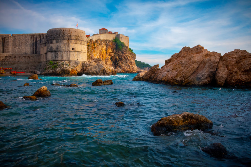 Looking Across Bay At Sea Level - Dubrovnik, Croatia