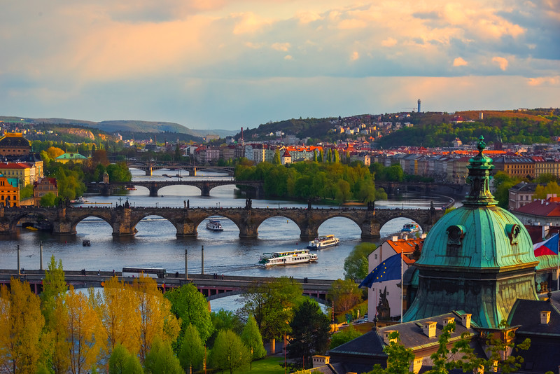 Sun Setting Over The Landscape Of Prague