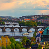 Sun Setting Over The Landscape Of Prague