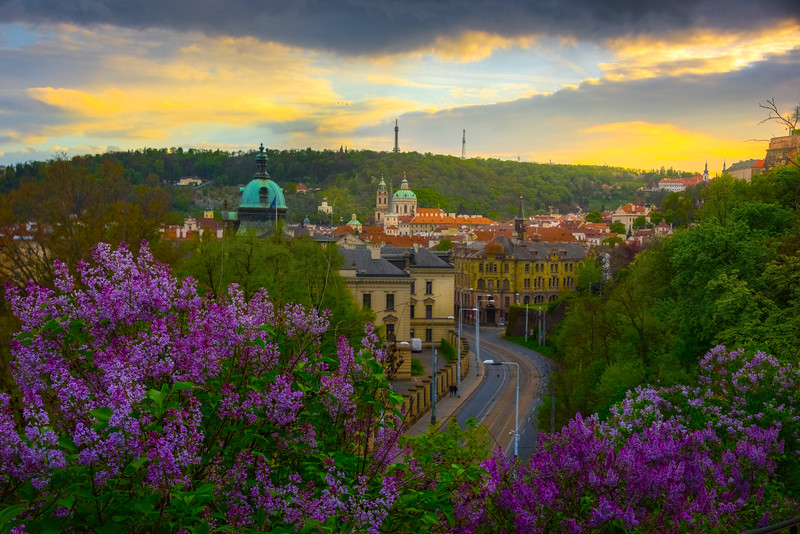 Overlooking The City Streets Of Prague