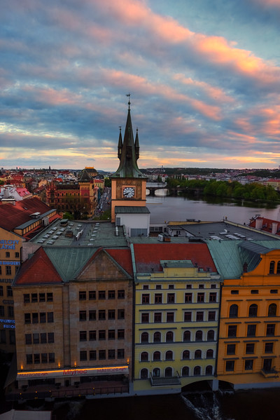 Patterns Of Sunset Red Clouds Over Prague
