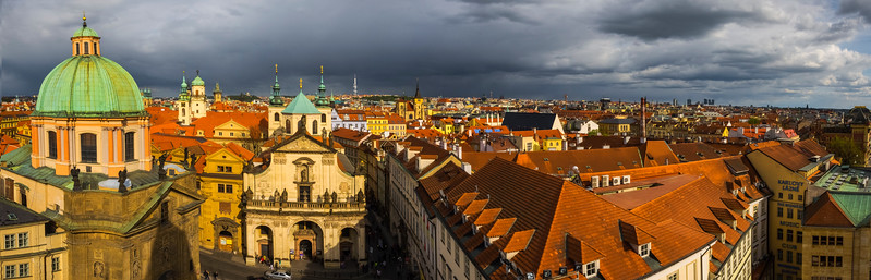 Storm Clouds Coming In Over Prague From Tower_Pano