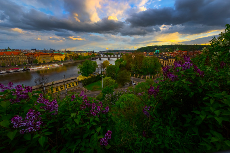 Sunset Beginning Over The Bridges And Prague