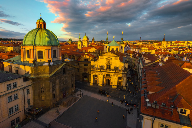 Overlooking A Sunset And Last Light On Prague