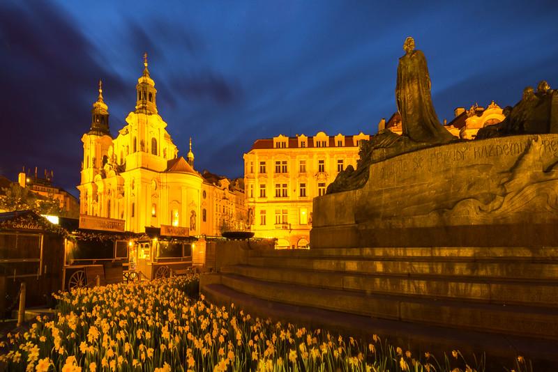 Flower Gardens Around The Main Square At Night