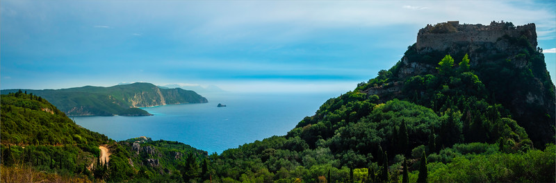 Pano Of Castle And Corfu Coastline - Corfu, Greece