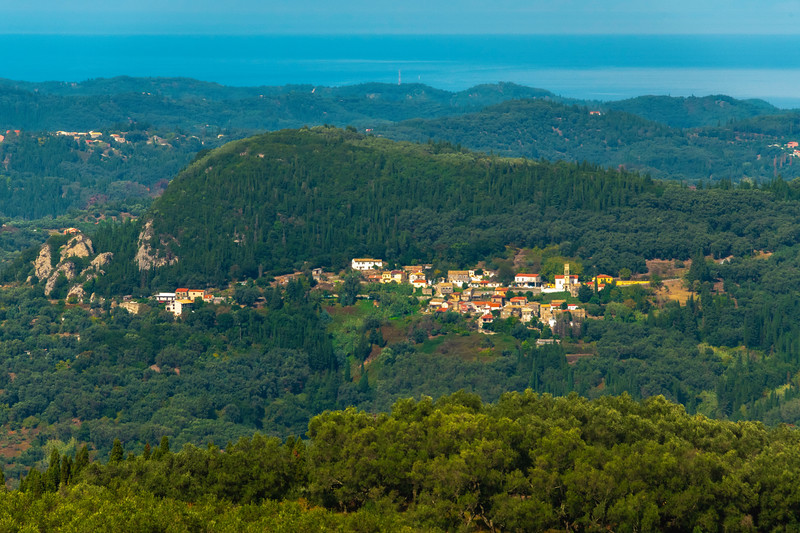 The Little Cities Build On The Sides Of Hills - Corfu, Greece