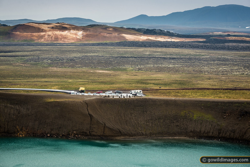 Krafla crater, lava fields and geothermal Rhyolite hills