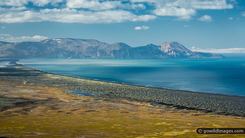 The remote Héraðsflói bay and hills of Fagradalsfjöll on the way to Bakkagerði