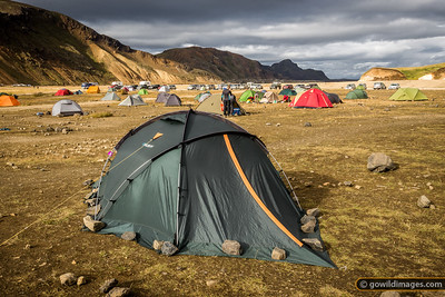 Landmannalaugar campground at the end of Summer