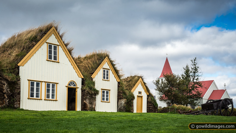 Historic Glaumbær Farm, showing typical turf-roofed homes that were used as recently as the 1940s. A farm has existed on the site since the 11th Century.