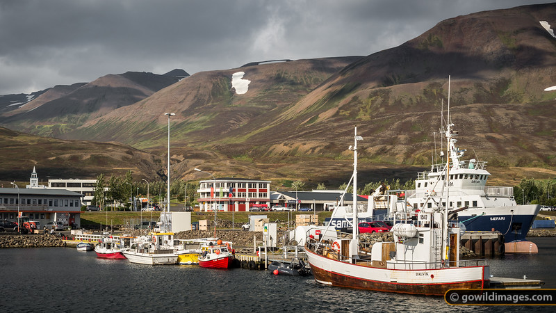 Dalvík harbour, below one of the more popular Winter ski areas