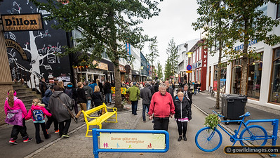 Menningarnótt (Culture Night) festival in Reykjavik is a day of art, food, music and fireworks. Laugavegur, shown here, is the main street in 101 Reykjavik  [editorial use only,  faces have been blurred]