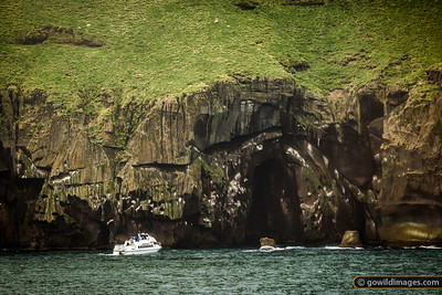 A tourist boat lines up, ready to head through a cave tunnel at Vestmannæyjar