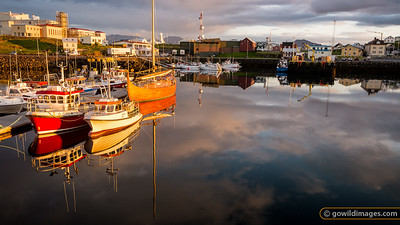 A picture perfect Stykkishólmur harbour at sunset