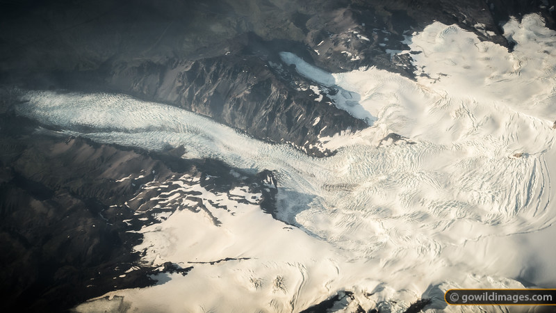 Part of the SE corner of Vatnajökull National Park from the air