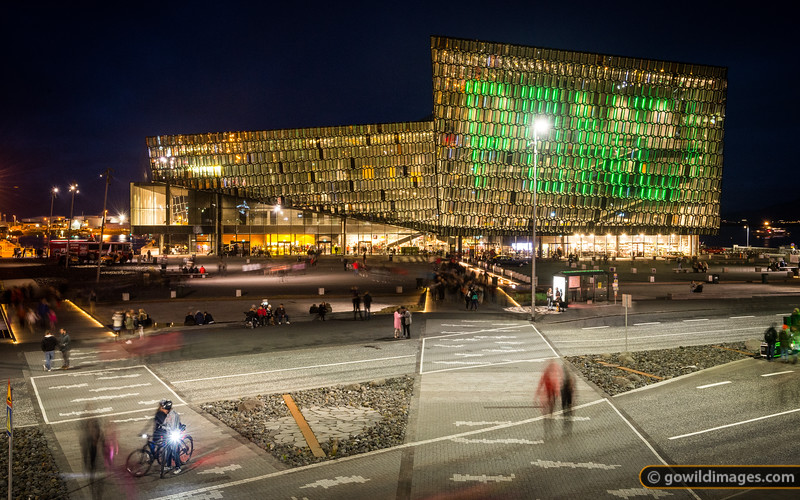 During the Culture Night festival, people could play Pong on the side of the Harpa building, using a free app