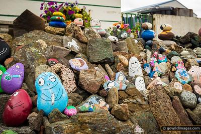 A colourful rock garden in Borgarnes near the curious cafe/florist – Kaffi Kyrrð