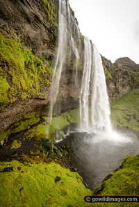 Seljalandsfoss, famous for the path that runs behind the falls