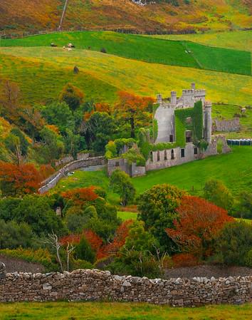 Remnants Of A Castle In Autumn -  Connemara Loop, County Galway, Ireland