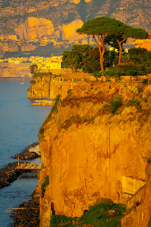 Sunset Glow On The Cliff Rocks Sorrento, Italy