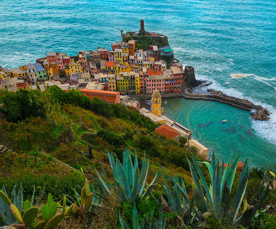 Looking Down On The Colors Of The Italian Rivera Cinque Terre, Italian Rivera, Italy