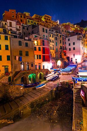 The Coastline Night Look Of The Italian Rivera - Cinque Terre, Italian Riveria, Italy