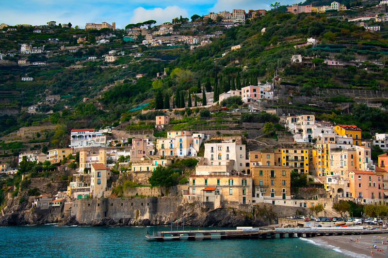 Cliffside Houses On Minori - Minori, Amalfi Coast, Bay Of Naples, Italy