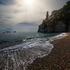 Looking Up At The Town Of Atrani From The Beach - Atrani, Amalfi Coast, Campania, Bay Of Naples, Italy