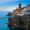 The Blue Waters Surrounding The Town Of Atrani - Atrani, Amalfi Coast, Campania, Bay Of Naples, Italy