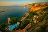 Hotel Resorts Along The Coast At Sunset Sorrento, Italy