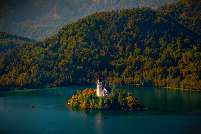 Lake Bled Castle From In The Mountains - Lake Bled, Bled, Slovenia
