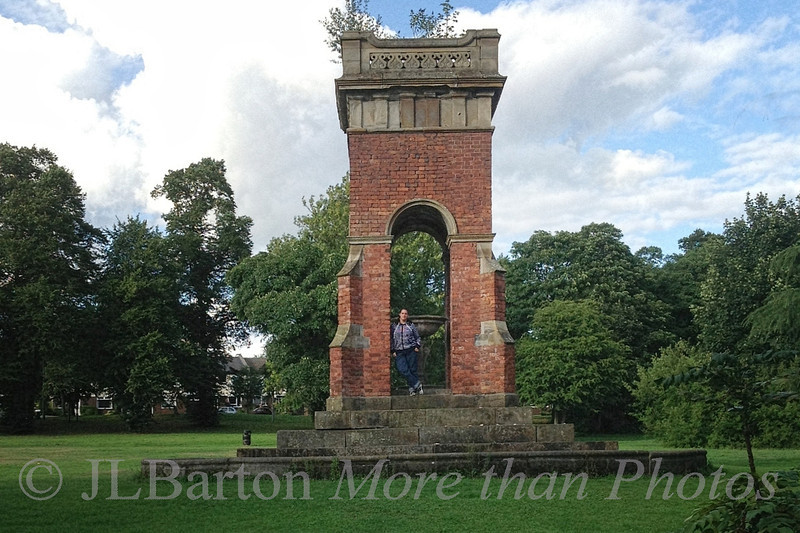 Monument to the Duke of Bridgewater in Worsley, with daughter-in-law Photo courtesy of MarthaJeanne