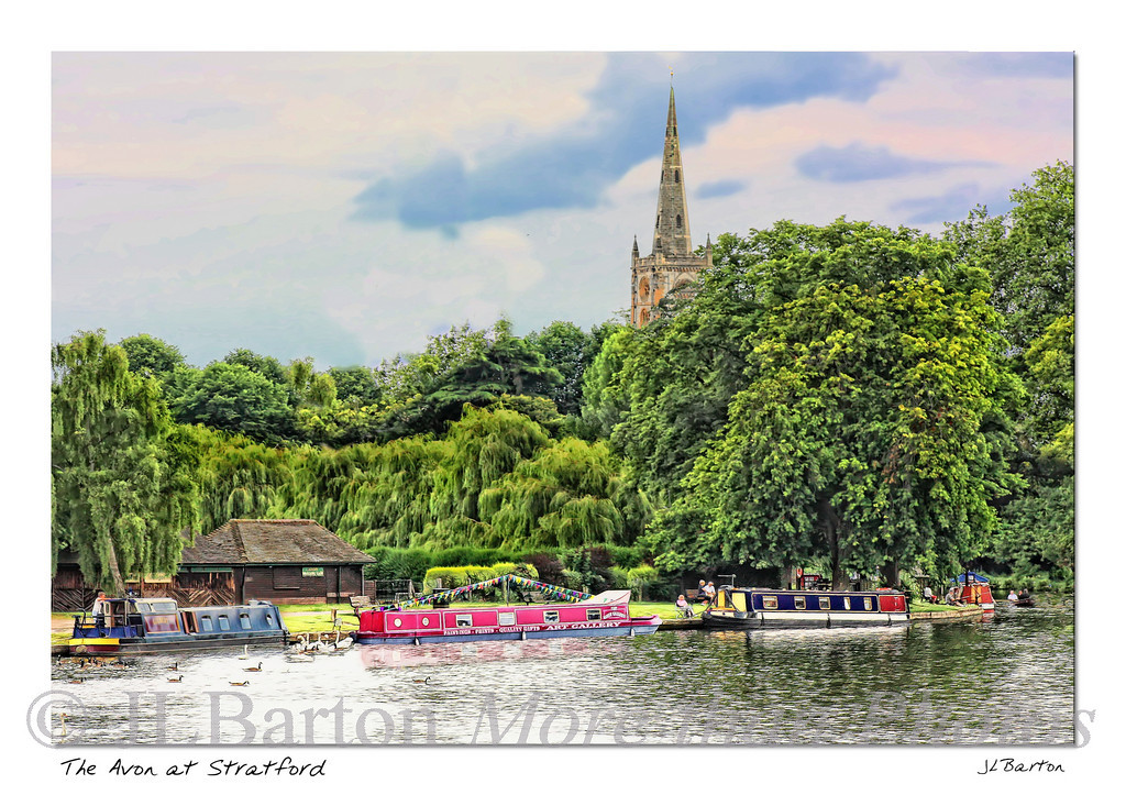 The Avon River with Narrow Boats The Holy Trinity church in the background - Shakespeare's baptism and burial church
