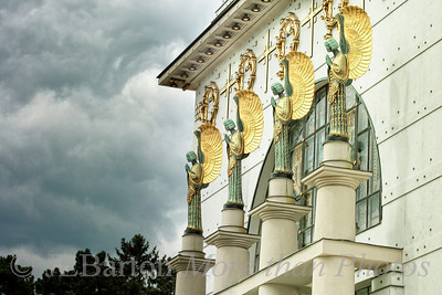Guardian Angels 2012-08-29  The four angels over the main entrance to the church at Steinhof in Vienna (yesterday's picture showed the altar).  The church is from Otto Wagner built 1903-1907, the angels from Othmar Schimkowitz. Constructive critiques welcome.  And thanks for the kind comments on my altar shot.