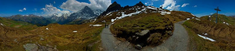 A hiking trail near with the north face of the Eiger in the background, the Alps, Switzerland 2010