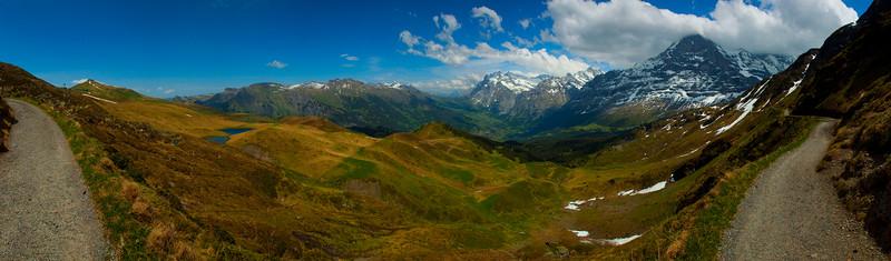 View of Mannlichen and the Grindelwald valley, the Alps, Switzerland 2010