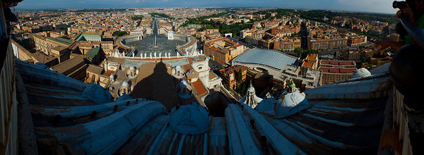 View of St. Peter's Square and the Rome skyline from the cupola of St. Peter's Basilica, Vatican City, Italy 2010