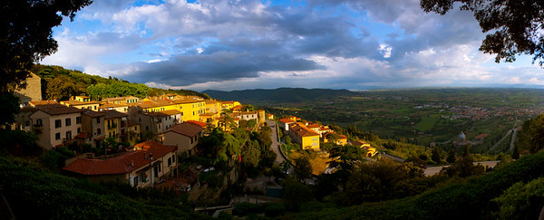 View of Cortona and the valley stretching to Lake Trasimeno, Tuscany, Italy 2010