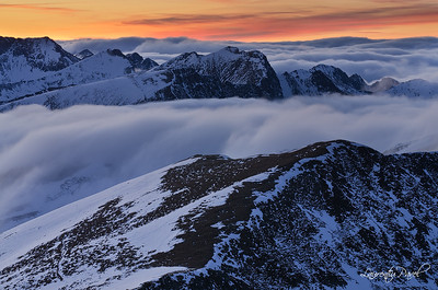 Sunset view from Urlea peak (2474m), Fagaras mountain