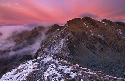 Sunset view from Serbota towards Negoiu peak, Fagaras mountain
