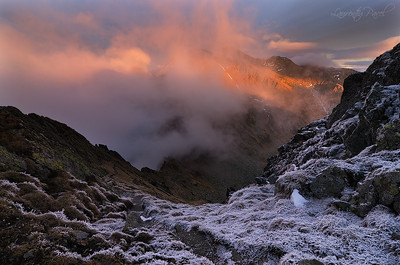 Window towards Negoiu peak engulfed in clouds, Fagaras mountain