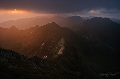 The moment Morning light viewed from Buteanu ridge, Fagaras mountain